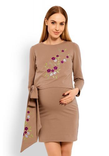 Tehotenské a dojčiace šaty s vyšívanými kvetmi a mašľou v čiernej farbe