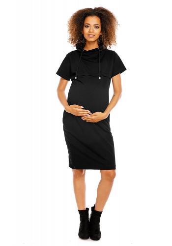 Tmavosivé tehotenské a dojčiace šaty s krátkym rukávom
