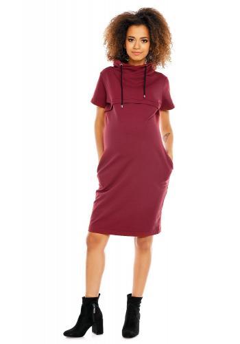 Tehotenské a dojčiace šaty s krátkym rukávom v cappuccinovej farbe