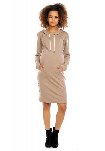 Čierne tehotenské a dojčiac šaty s kapucňou