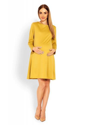 Tehotenské šaty s voľným strihom v sivej farbe
