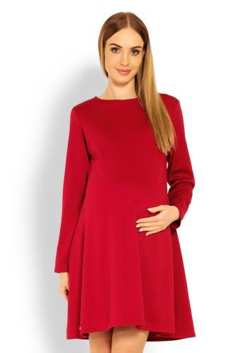 Tehotenské šaty s voľným strihom v tmavosivej farbe