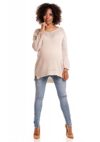 Tehotenský oversize sveter v bielej farbe