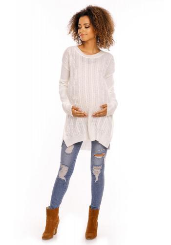 Tehotenský a dojčiaci mätový sveter so zipsami na boku