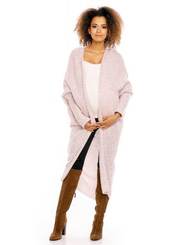 Tehotenský sivý oversize dlhý plášť