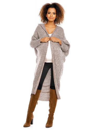 Tehotenský oversize dlhý plášť v čiernej farbe