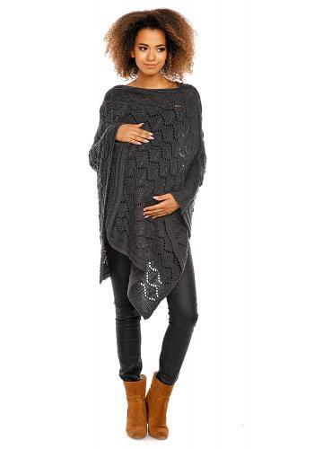 Tehotenské svetlo sivé elegantné pončo s jemným otvoreným vzorom