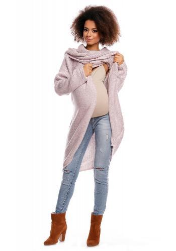 Tehotenský a dojčiaci svetlo sivý asymetrický sveter s voľným rolákom
