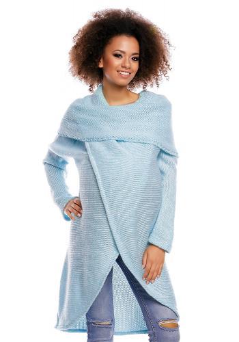 Tehotenský a dojčiaci sivý asymetrický sveter s voľným rolákom
