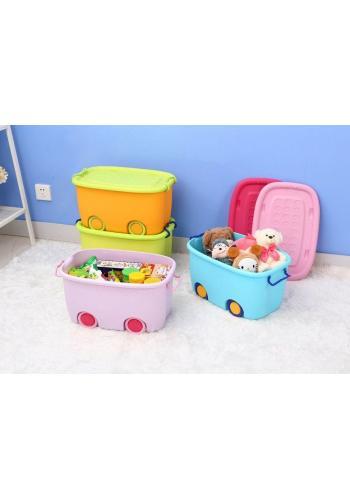 Box na hračky s kolesami - ružový