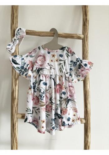 Dívčí šaty s krátkým rukávem a volány v bílé barvě s potiskem růží