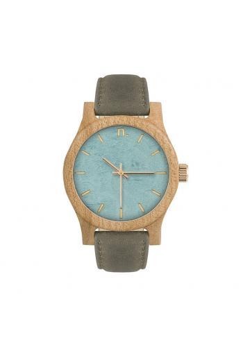 Drevené dámske hodinky béžovo-hnedej farby s koženým remienkom