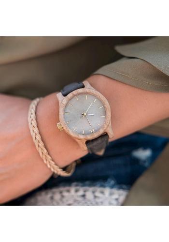 Dámske drevené hodinky s koženým remienkom v sivo-modrej farbe