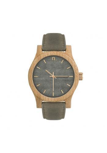 Sivo-olivové drevené hodinky s koženým remienkom pre dámy