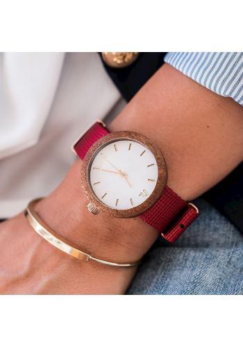 Dámske drevené hodinky s textilným remienkom v zeleno-bielej farbe