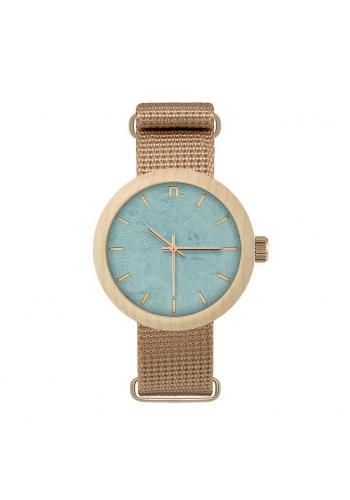 Drevené dámske hodinky sivej farby s textilným remienkom