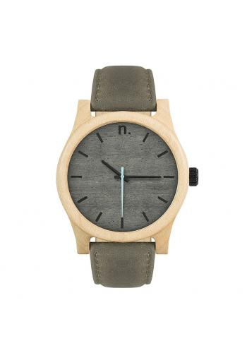 Pánske drevené hodinky s koženým remienkom v čierno-olivovej farbe