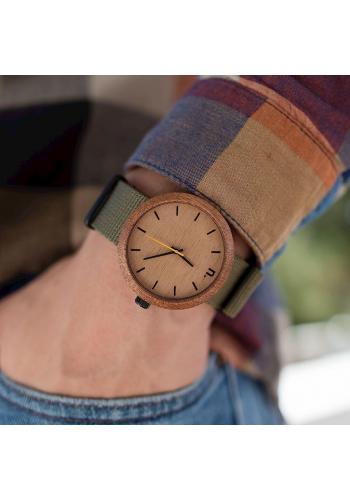 Sivé drevené hodinky s koženým remienkom pre pánov