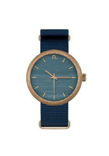 Drevené pánske hodinky zeleno-béžovej farby s textilným remienkom