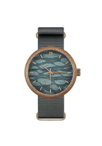 Drevené pánske hodinky čiernej farby s textilným remienkom