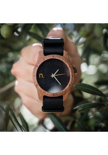 Drevené pánske hodinky zeleno-čiernej farby s textilným remienkom