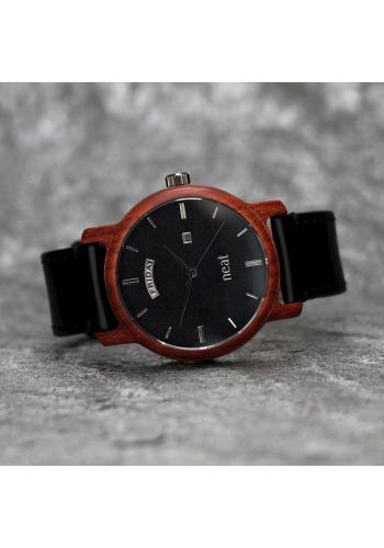 Pánske drevené hodinky s koženým remienkom v hnedo-modrej farbe