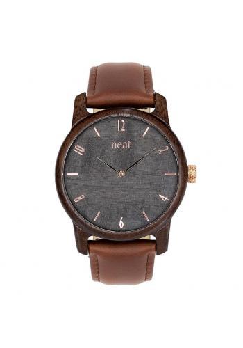 Čierne drevené hodinky s koženým remienkom pre pánov