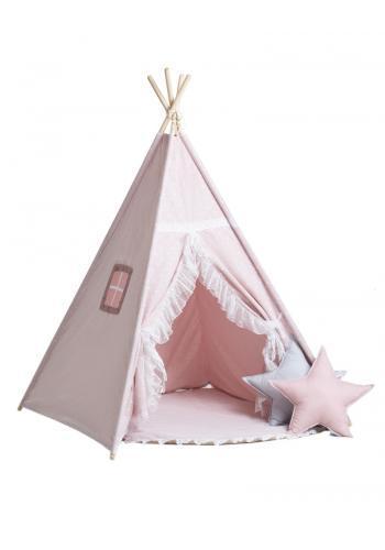 Béžovo-ružový indiánsky stan pre deti s podložkou a vankúšmi