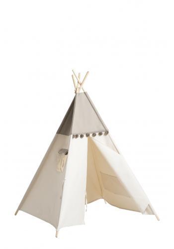 Indiánsky stan pre deti v sivej farbe s volánom
