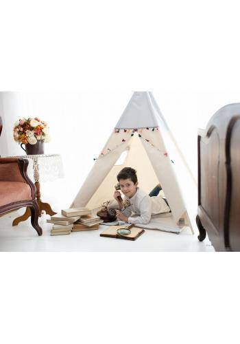 Indiánsky stan pre deti v béžovo-sivej farby s farebnými strapcami