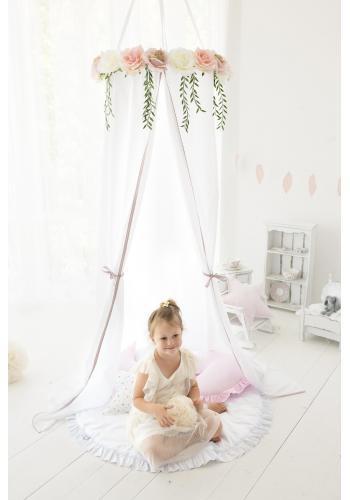 Detský kvetovaný baldachýn v bielej farbe