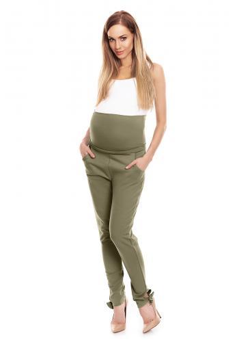 Čierne nohavice so zvýšeným pásom a mašľou pre tehotné