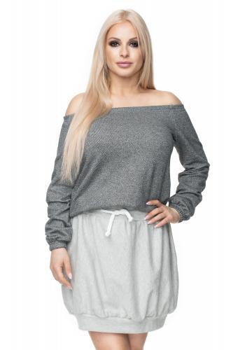 Štýlová melanžová sukňa mini v tmavosivej farbe pre dámy
