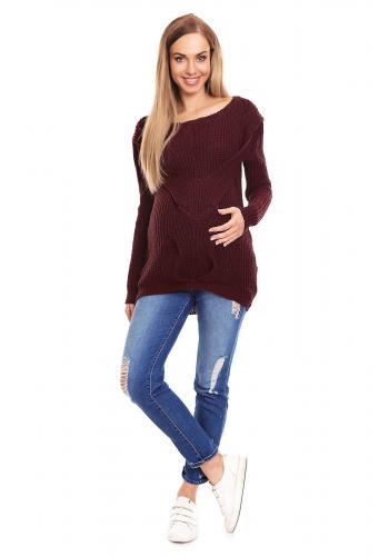 Fialový predlžený sveter s vrkočom vpredu pre tehotné