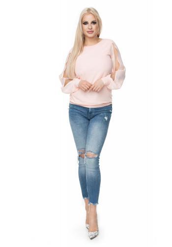 Dámske melanžové nohavice s ozdobným zipsom a EKO-kožou vo svetlosivej farbe