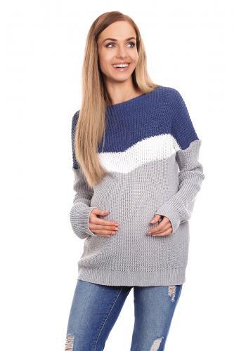 Svetlo ružový sveter trojfarebný pre tehotné