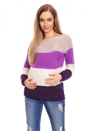 Tehotenský sveter trojfarebný - modrá