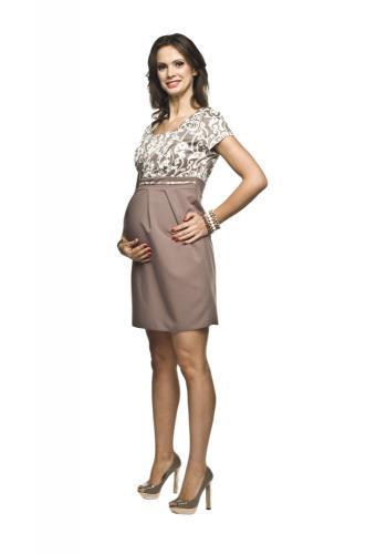 Elegantné tehotenské šaty tmavomodrej farby s krátkym rukávom