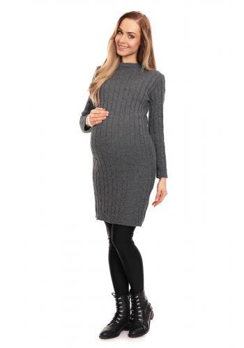 Tehotenské pletené šaty vo fialovej farbe