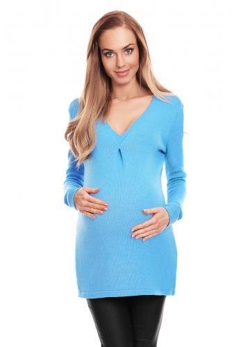 Tehotenský sveter s výstrihom v čiernej farbe