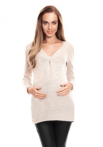 Modrý sveter s výstrihom pre tehotné