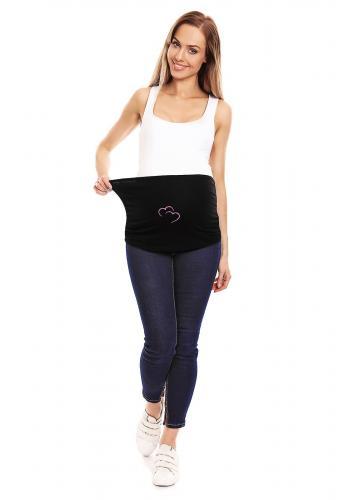 Čierne elegantné rozšírené šaty s mašľou pre tehotné