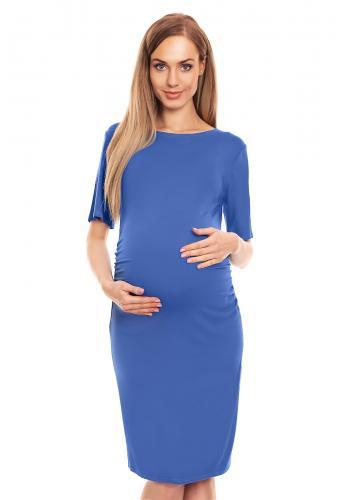 Čierne tehotenské šaty s 1/2 rukávom a riasením po boku