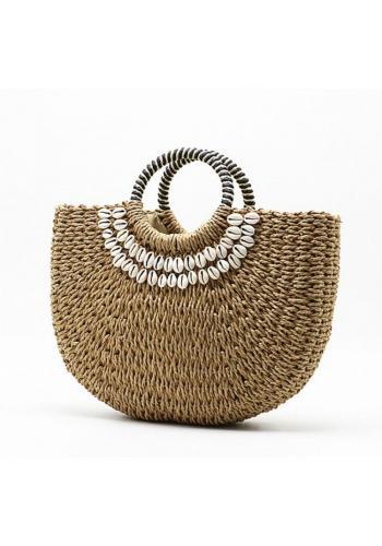 Dámska prútená kabelka s mušľami v hnedej farbe