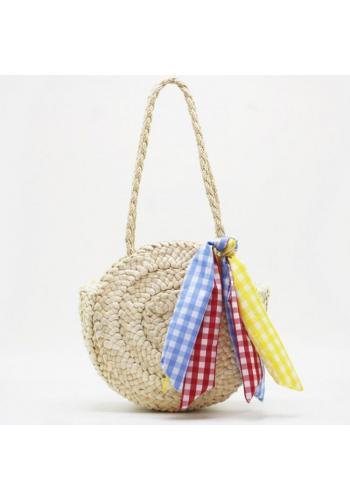 Béžová okrúhla prútená kabelka so šatkou pre dámy
