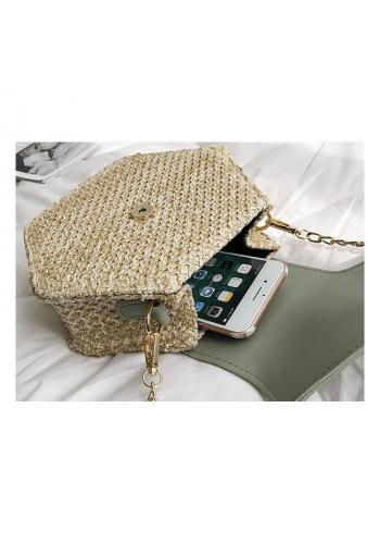 Biela prútená kabelka s retiazkou pre dámy