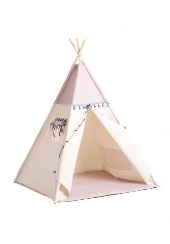Béžovo-ružový indiánsky stan so strapcami pre deti