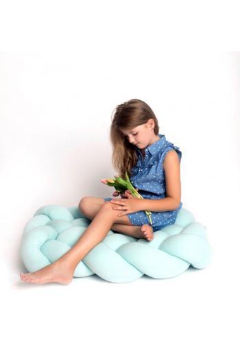 Vankúš uzlík na sedenie v lazúrovej farbe