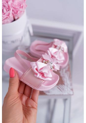 Ružové gumené šľapky s mašľou pre dievčatá