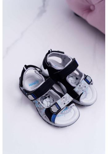 Sandále na suchý zips pre chlapcov v čiernej farbe